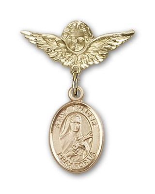 Pin Badge with St. Therese of Lisieux Charm and Angel with Smaller Wings Badge Pin - 14K Yellow Gold