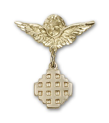 Pin Badge with Jerusalem Cross Charm and Angel with Smaller Wings Badge Pin - 14K Yellow Gold