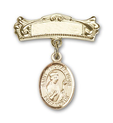 Pin Badge with St. Thomas More Charm and Arched Polished Engravable Badge Pin - 14K Yellow Gold