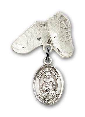 Pin Badge with St. Daniel Charm and Baby Boots Pin - Silver tone