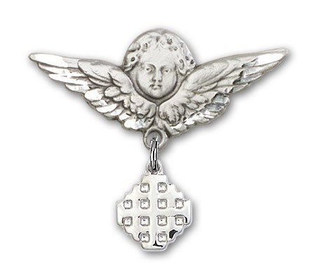 Pin Badge with Jerusalem Cross Charm and Angel with Larger Wings Badge Pin - Silver tone