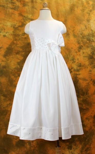 First Communion Dress with Pleated Rhinestone Waist & Hemline - White