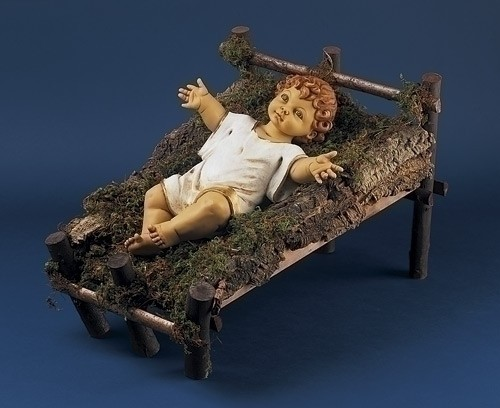 "50"" Scale Infant Jesus with Natural Wood Cradle - 2 piece - Multi-Color"