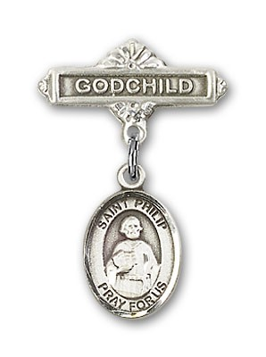 Pin Badge with St. Philip the Apostle Charm and Godchild Badge Pin - Silver tone