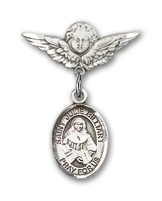 Pin Badge with St. Julie Billiart Charm and Angel with Smaller Wings Badge Pin - Silver tone
