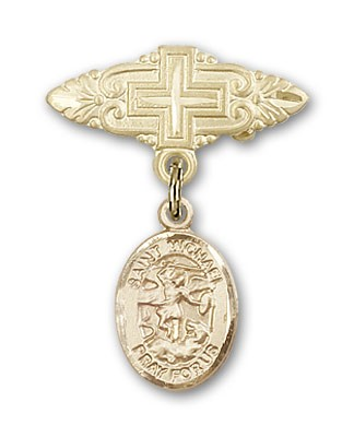 Pin Badge with St. Michael the Archangel Charm and Badge Pin with Cross - 14K Solid Gold