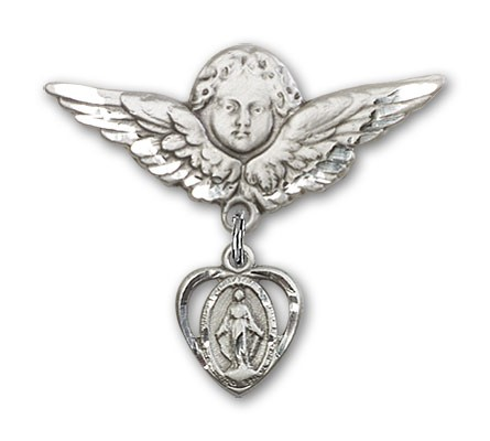 Pin Badge with Miraculous Charm and Angel with Larger Wings Badge Pin - Silver tone