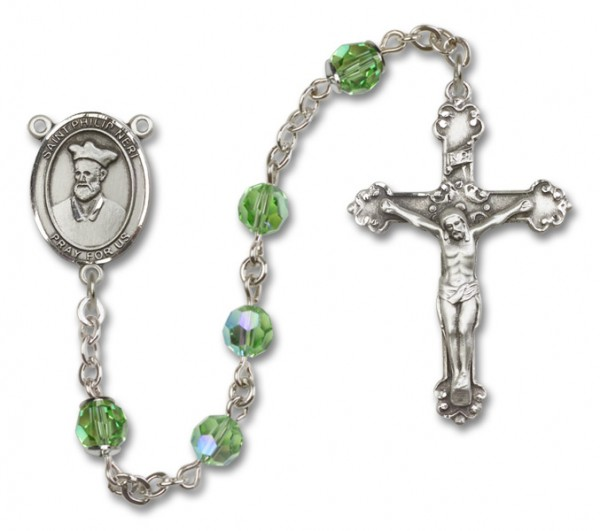 St. Philip Neri Sterling Silver Heirloom Rosary Fancy Crucifix - Peridot