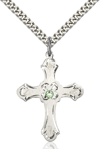 Budded Cross Pendant with Etched Border Birthstone Options - Peridot