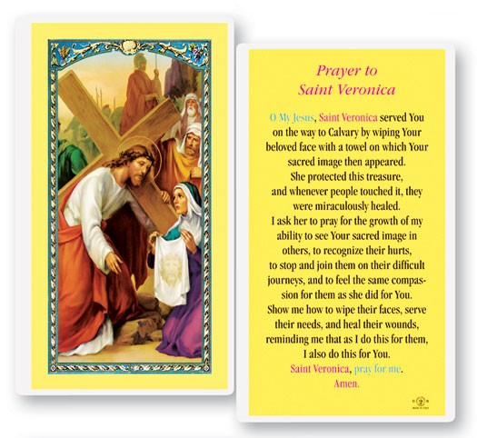 St. Veronica Laminated Laminated Prayer Cards 25 Pack - Full Color