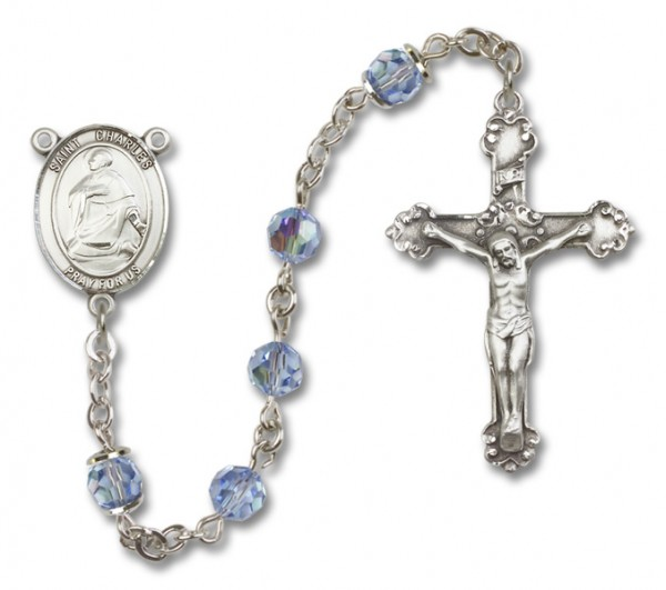 St. Charles Borromeo Sterling Silver Heirloom Rosary Fancy Crucifix - Light Amethyst