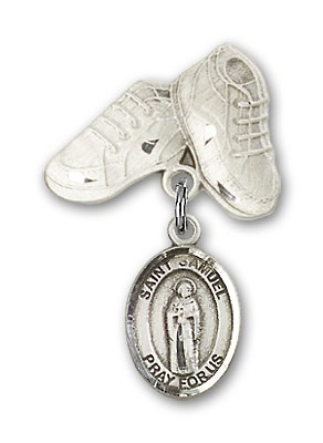 Pin Badge with St. Samuel Charm and Baby Boots Pin - Silver tone