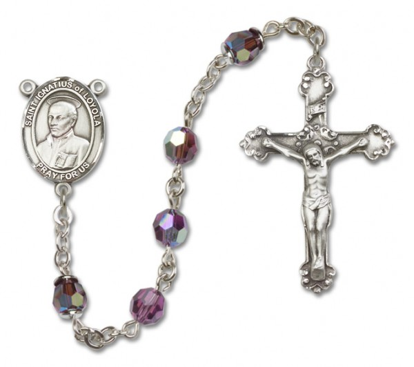 St. Ignatius of Loyola Sterling Silver Heirloom Rosary Fancy Crucifix - Amethyst
