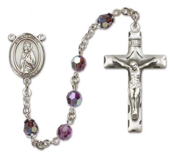 St. Alice Rosary Heirloom Squared Crucifix - Amethyst