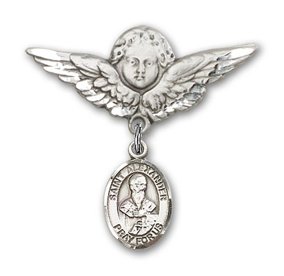 Pin Badge with St. Alexander Sauli Charm and Angel with Larger Wings Badge Pin - Silver tone