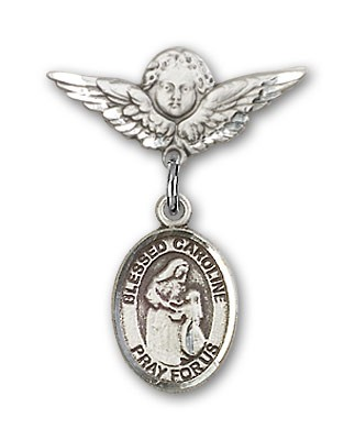 Pin Badge with Blessed Caroline Gerhardinger Charm and Angel with Smaller Wings Badge Pin - Silver tone