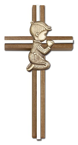"Praying Boy Cross in Walnut 6"" with Metal Inlay - Two-Tone Silver"