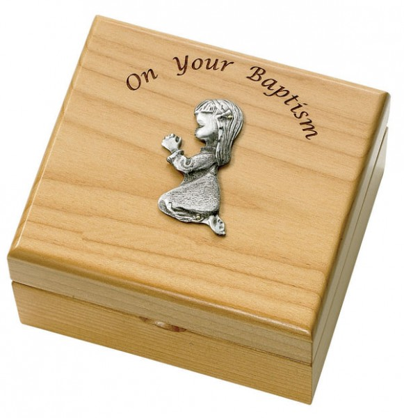 Girl's Baptism Maple Wood Keepsake Box - Light Brown