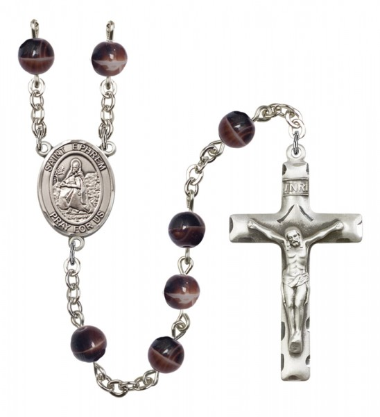 Men's St. Ephrem Silver Plated Rosary - Brown