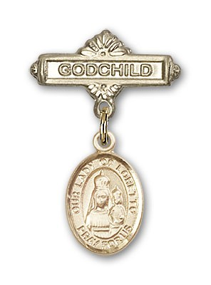Baby Badge with Our Lady of Loretto Charm and Godchild Badge Pin - 14K Solid Gold