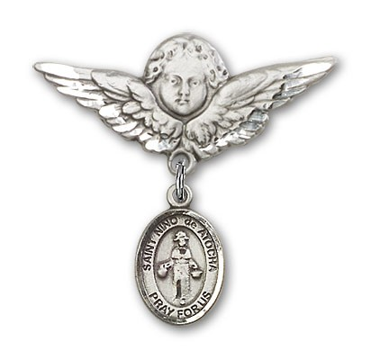 Pin Badge with St. Nino de Atocha Charm and Angel with Larger Wings Badge Pin - Silver tone