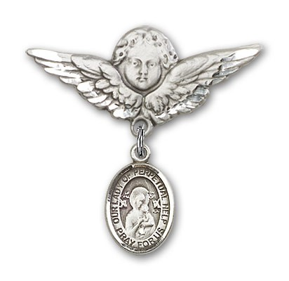 Pin Badge with Our Lady of Perpetual Help Charm and Angel with Larger Wings Badge Pin - Silver tone