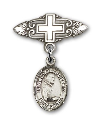 Pin Badge with St. Pio of Pietrelcina Charm and Badge Pin with Cross - Silver tone
