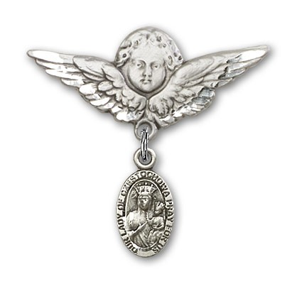 Pin Badge with Our Lady of Czestochowa Charm and Angel with Larger Wings Badge Pin - Silver tone