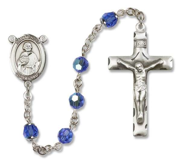 St. Philip the Apostle Sterling Silver Heirloom Rosary Squared Crucifix - Sapphire