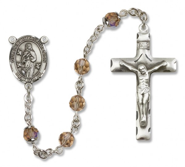 Our Lady of Assumption Sterling Silver Heirloom Rosary Squared Crucifix - Topaz