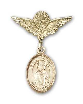 Pin Badge with St. Dennis Charm and Angel with Smaller Wings Badge Pin - 14K Yellow Gold