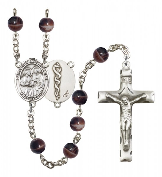 Men's Sts. Cosmas & Damian Doctors Silver Plated Rosary - Brown