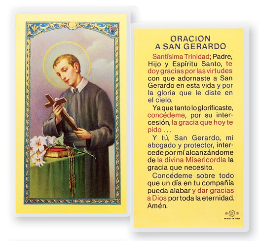 Oracion A San Gerardo Mayela Laminated Spanish Prayer Cards 25 Pack - Full Color