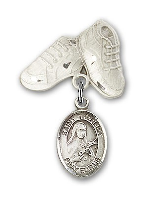 Pin Badge with St. Theresa Charm and Baby Boots Pin - Silver tone