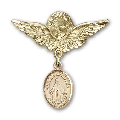 Pin Badge with Our Lady of Peace Charm and Angel with Larger Wings Badge Pin - Gold Tone