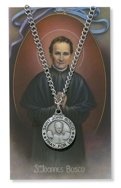 Round St. John Bosco Medal with Prayer Card - Silver tone