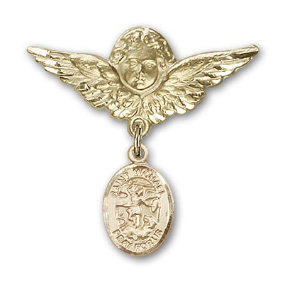 Pin Badge with St. Michael the Archangel Charm and Angel with Larger Wings Badge Pin - 14K Solid Gold