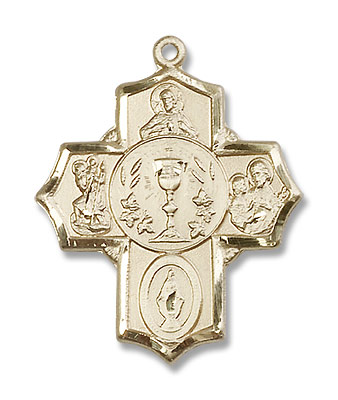 Men's Chalice Center 5-Way Pendant - 14K Solid Gold