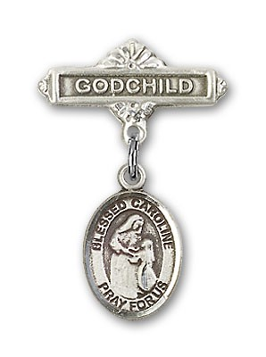 Pin Badge with Blessed Caroline Gerhardinger Charm and Godchild Badge Pin - Silver tone