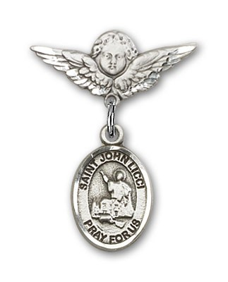 Pin Badge with St. John Licci Charm and Angel with Smaller Wings Badge Pin - Silver tone