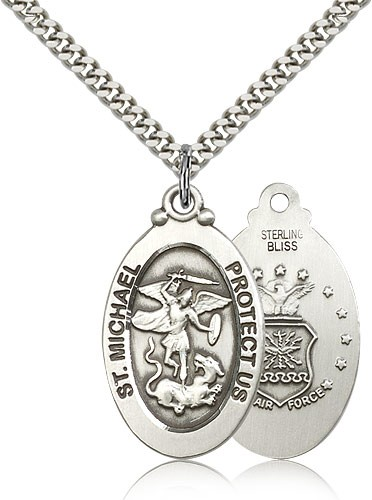 Men's  St. Michael Air Force Medal - Sterling Silver