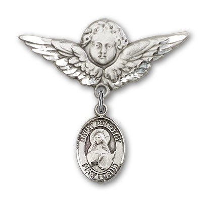 Pin Badge with St. Dorothy Charm and Angel with Larger Wings Badge Pin - Silver tone