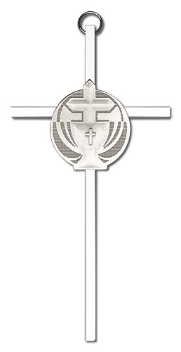 "Communion Chalice and Cross Wall Cross 6"" - Silver tone"