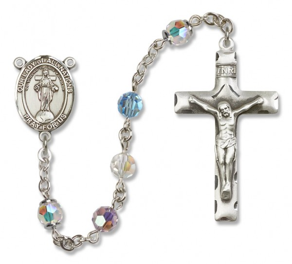 Our Lady of Nations Rosary Heirloom Squared Crucifix - Multi-Color