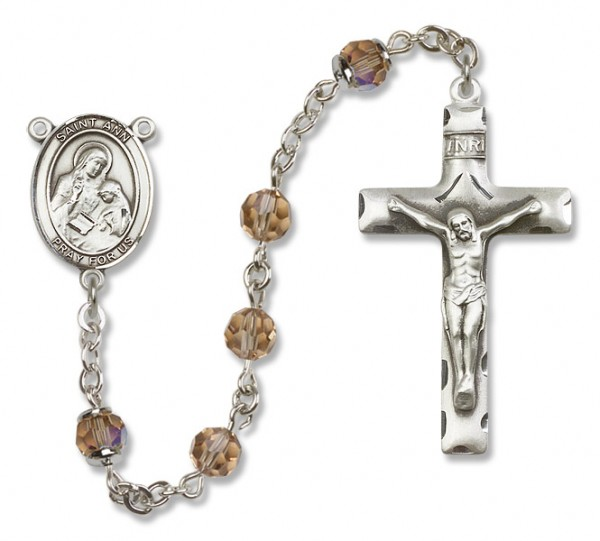 St. Ann Sterling Silver Heirloom Rosary Squared Crucifix - Topaz
