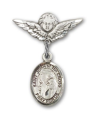 Pin Badge with St. John of the Cross Charm and Angel with Smaller Wings Badge Pin - Silver tone