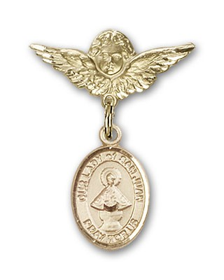 Pin Badge with Our Lady of San Juan Charm and Angel with Smaller Wings Badge Pin - Gold Tone