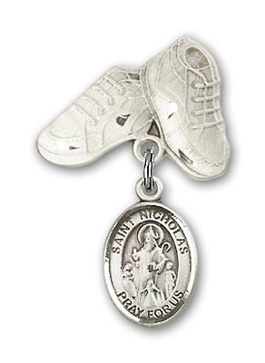 Pin Badge with St. Nicholas Charm and Baby Boots Pin - Silver tone