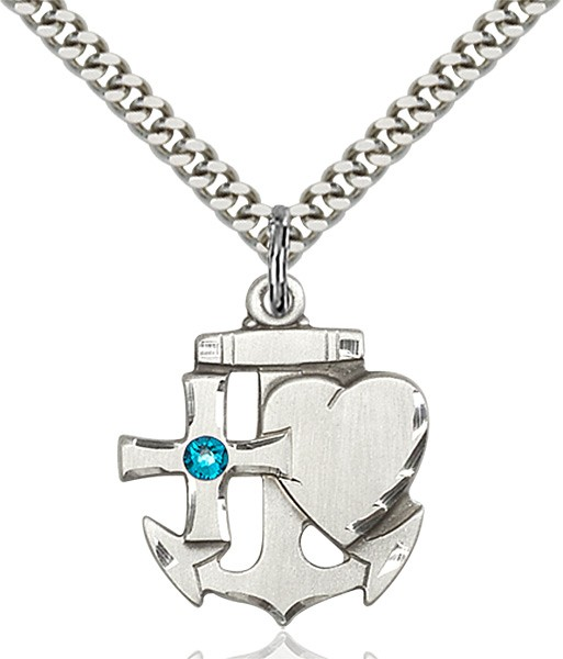 Faith Hope and Charity Pendant with Birthstone Option - Zircon