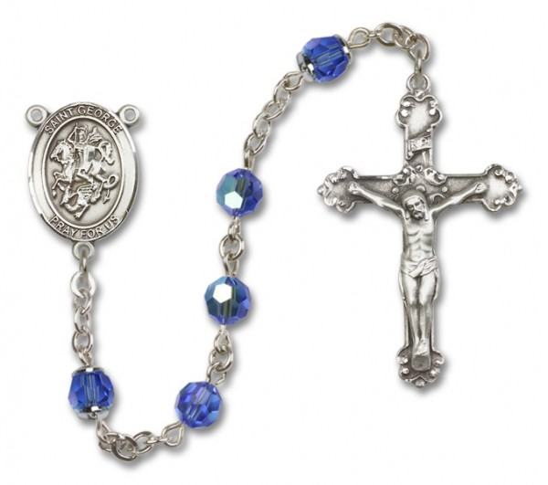 St. George Sterling Silver Heirloom Rosary Fancy Crucifix - Sapphire
